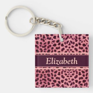 Pink Leopard Skin Pattern Acrylic Keychains