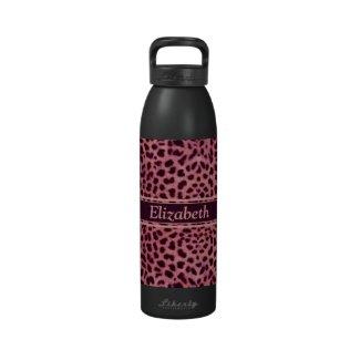 Pink Leopard Skin Pattern Drinking Bottle