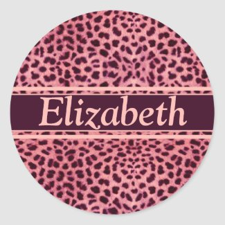 Pink Leopard Skin Pattern Round Sticker