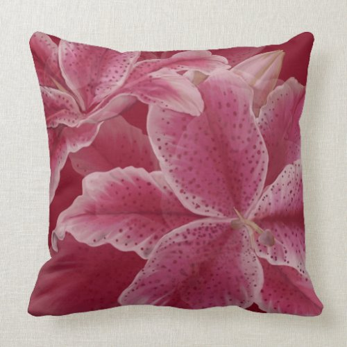 Pink Lillies on Ruby Pillow