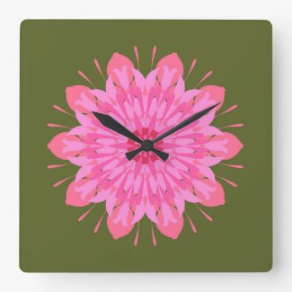 Pink mandala on green clocks