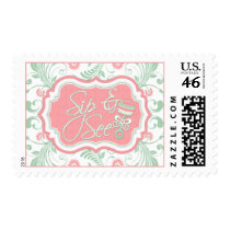 Pink Mint Green Floral Sip and See Baby Shower Postage