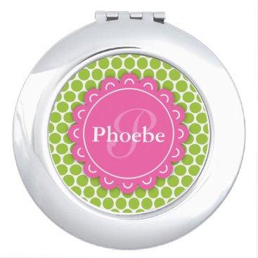 Pink Modern Flower Monogram Lime Green Polka Dots Vanity Mirror