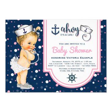 Pink Navy Blue Girl Nautical Baby Shower Card