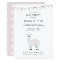 Pink & Off-White Gender Neutral Llama Baby Shower Card