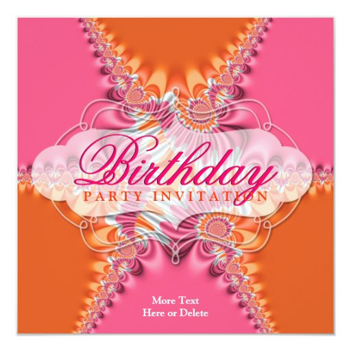 Pink Orange Lace Exotic Birthday Party  Invitation