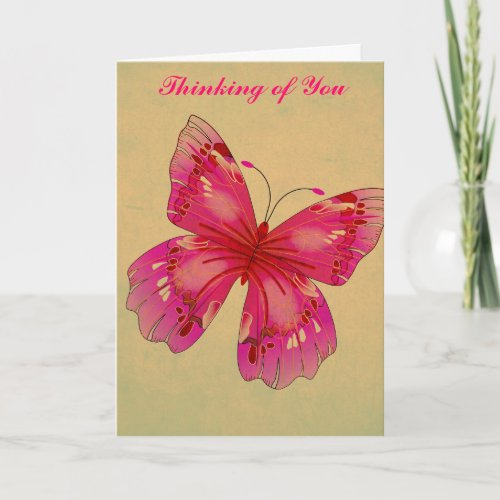 Pink Oriental vintage butterfly Thinking of You Card
