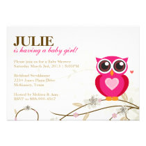 Pink Owl and Flourishes Girl Baby Shower Invite