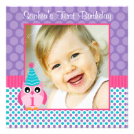 Pink Owl Multi Polka Dot 1st Birthday Girl Photo Custom Invites