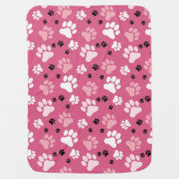 Pink Paw Print Dog Crate Blanket