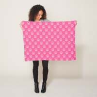 Pink Paw Prints Pattern Fleece Blanket