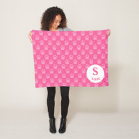 Pink Paw Prints Pattern With Monogram & Name Fleece Blanket