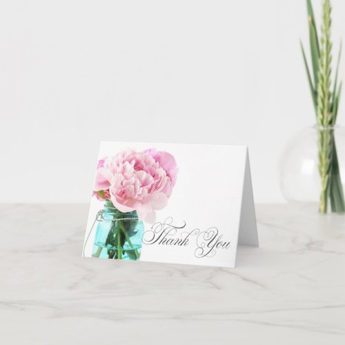 Pink Peonies Mason Jar Thank You Card