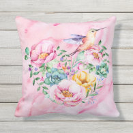 Pink Peony Watercolor Heart Outdoor Pillow