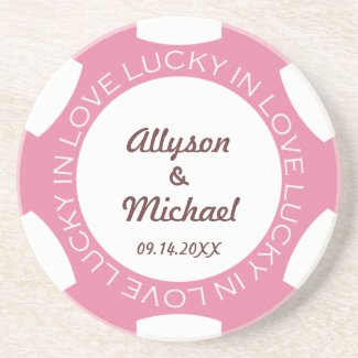 Pink Poker Chip Lucky In Love Coaster
