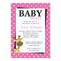 Pink Polka Dot Giraffe Baby Shower Invitations