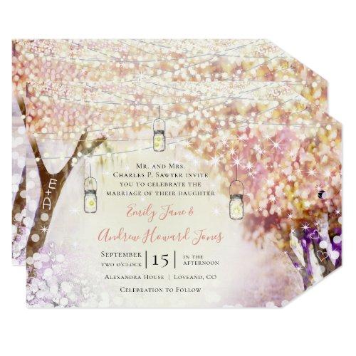 Pink Purple Blue Fairy Lights Boho Forest Wedding Invitation