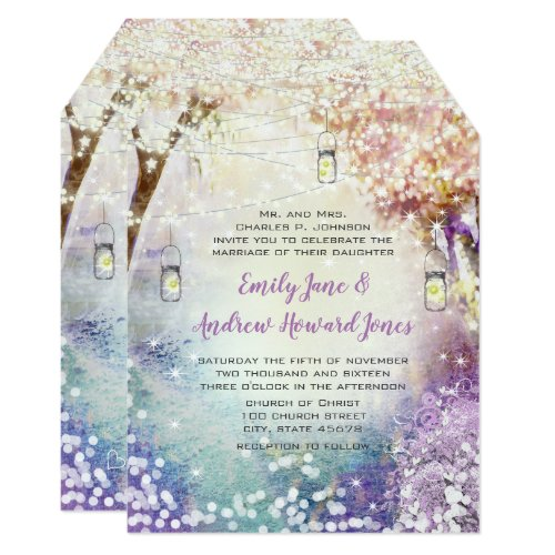 Pink Purple Blue Fairy Lights Boho Forest Wedding Invitation