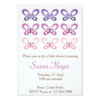 Pink Purple Butterfly Babyshower invitation