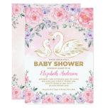 Pink Purple Floral Swan Princess Baby Shower Invitation