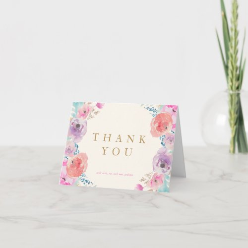 Pink Purple Gold Vintage Floral Thank You Card