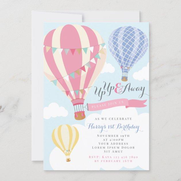 pink purple hot air balloon birthday invitation zazzle com