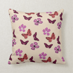 Pink Purple Red Butterflies Flowers Pillow Cushion