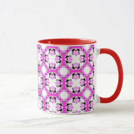 Pink Ribbons Bows Abstract Modern Magenta Pattern Mug