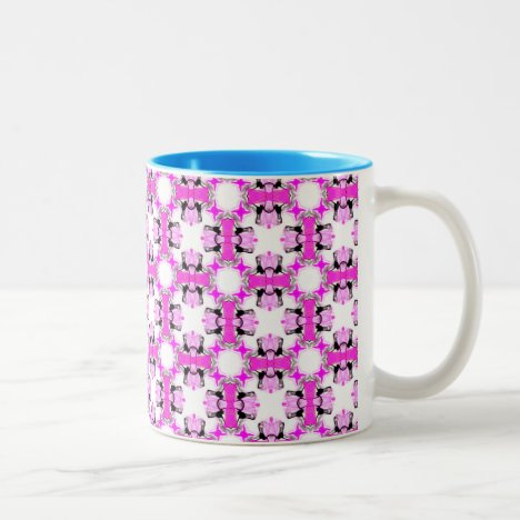 Pink Ribbons Bows Abstract Modern Magenta Pattern Two-Tone Coffee Mug