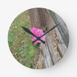 Pink Rose Against Wooden Fence Round Wall Clock