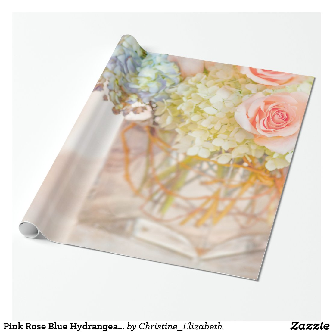 Pink Rose Blue Hydrangea Vase Bouquet Roses Flower Wrapping Paper