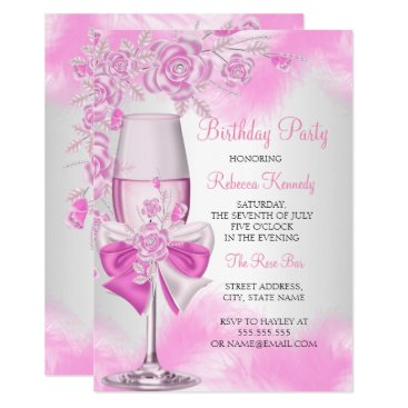 Pink Rose Champagne White Floral Party Invitation