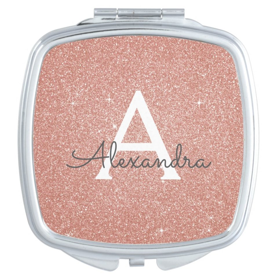 Custom Pink Rose Gold Glitter and Sparkle Monogram Compact Mirror