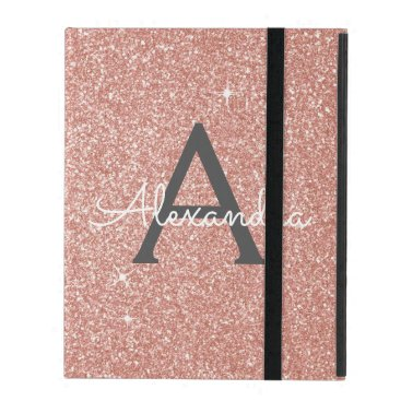 Pink Rose Gold Glitter and Sparkle Monogram iPad Case