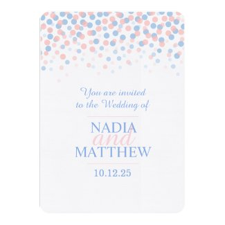 Pink rose quartz & serenity blue wedding invite