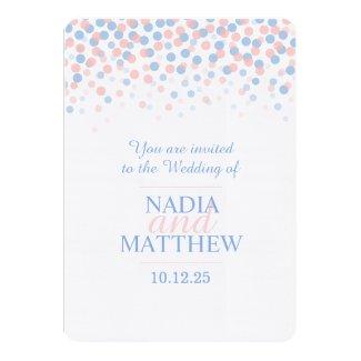 Pink rose quartz & serenity blue wedding invite
