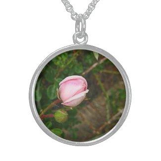 Pink Rosebud Charm Round Pendant Necklace