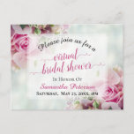 Pink Roses & Peony Buds Virtual Bridal Shower Invitation Postcard