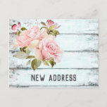 Pink Roses Rustic Aqua Fence New Address Announcement Postcard