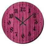 Pink Rustic Wooden Clock
