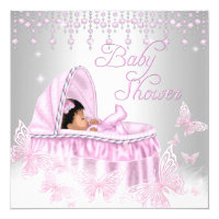 Pink Silver Sparkle Butterfly Baby Shower Ethnic Card