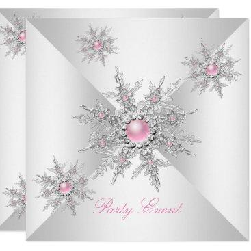 Pink Snowflakes Winter Wonderland Party Card