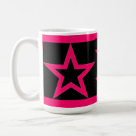 Pink Stars on Black - Mug on Zazzle