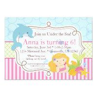 Pink Stripe, Dolphin, Girl Mermaid Birthday Party Card