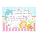 Pink Stripe, Dolphin, Girl Mermaid Birthday Party Invitation