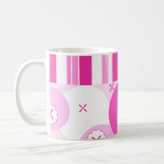 Pink stripes and flowers - Mug