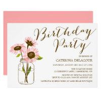 Pink Sunflowers Birthday Party Invitation