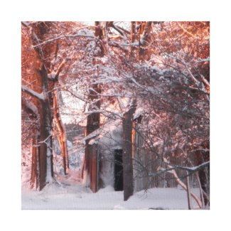 Pink Sunrise and Snow Winter Photo Wrapped Canvas Canvas Prints