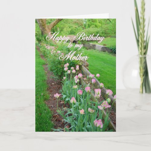 Pink Tulips Happy Birthday Mother card