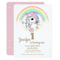 Pink Unicorn RainBow Girl 1st Birthday Cards